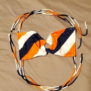 Victoria's Secret Orange, White, Blue bikini top